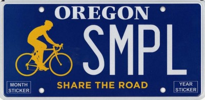 State of oregon bicycle license plate