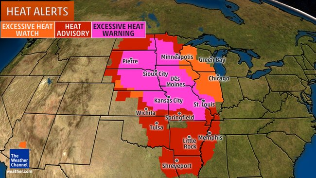 Heat alerts issued by the National Weather Service.