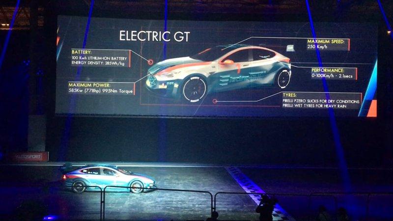 電気自動車による新選手権「エレクトリック GT」参戦車両のテスラ「モデルS」がバーンナウト!