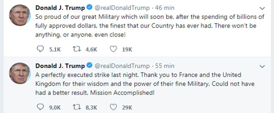 Trump tuiteó sobre el bombardeo en Siria y... no hay
