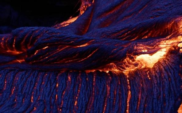 Blue lava in Hawaii volcano