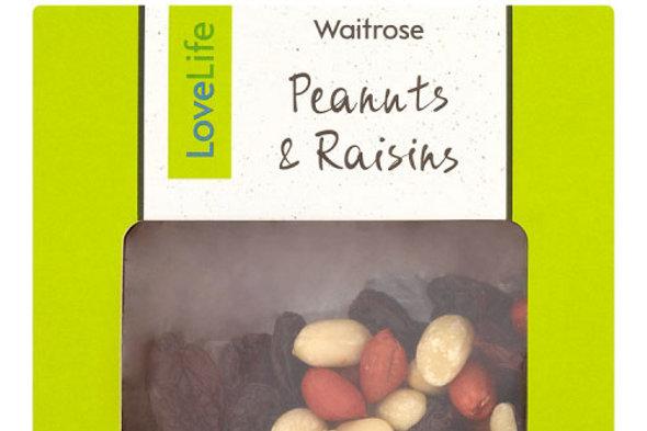 A pack of Lovelife Peanuts & Raisins