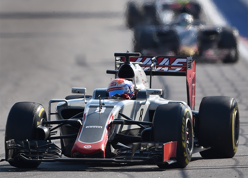 Haas F1 Team's French driver Romain Grosjean steers his car during the Formula One Russian Grand Prix at the Sochi Autodrom circuit on May 1, 2016.