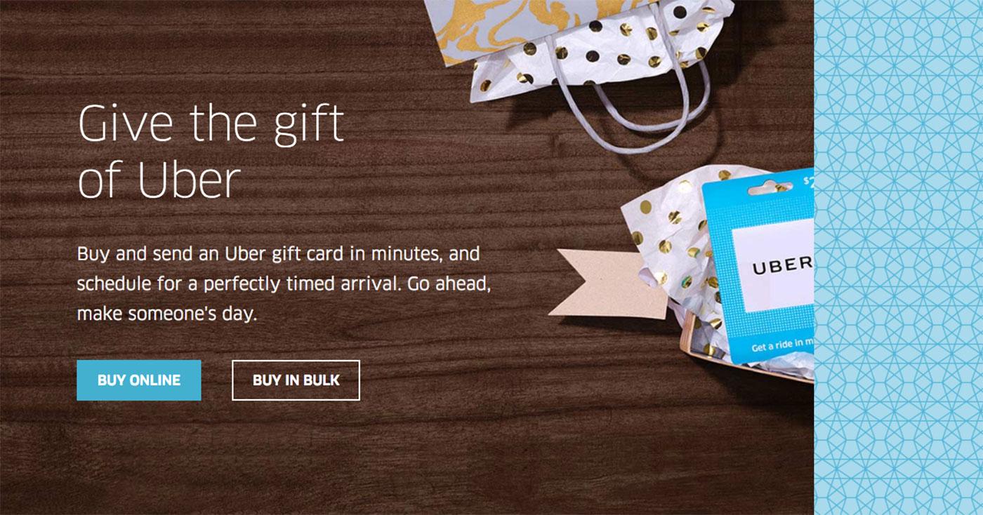 Uber starts selling digital gift cards online