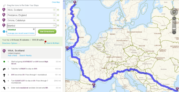 Directions from Scotland to Istanbul