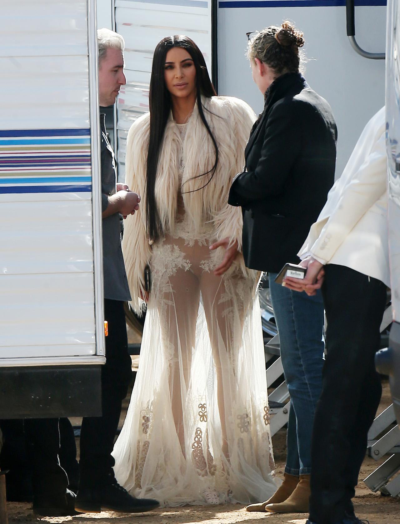 kim kardashian dons same sheer gown to film more oceans