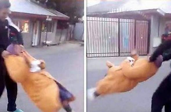 Still from video of 'granny-spinning' assaut