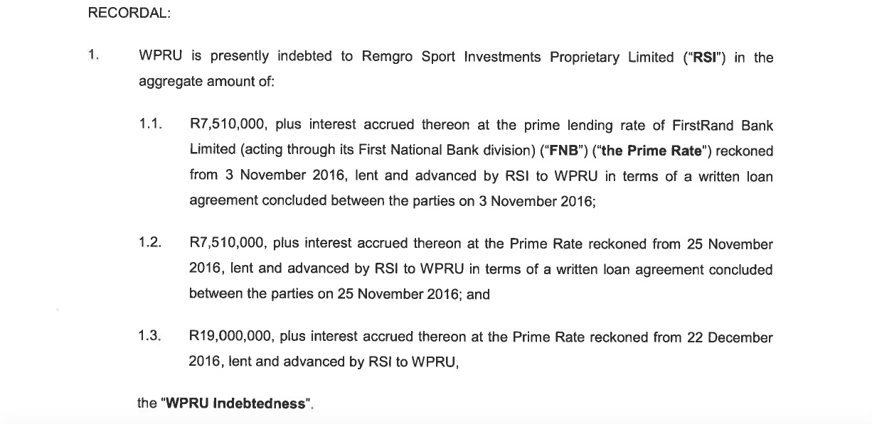 An extract from a draft agreement drawn up by attorneys ENSAfrica on behalf of Remgro and sent to the...