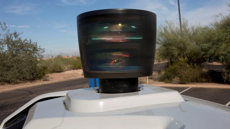 The lidar sensor is seen on a self driving Volvo vehicle, purchased by Uber, Phoenix, Arizona, U.S., December 1, 2017.  Photo taken on December 1, 2017.  REUTERS/Natalie Behring