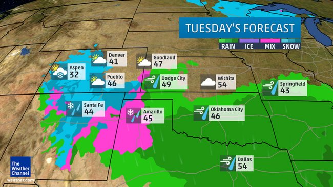 Tuesday's Forecast Rain/Snow/Ice  Credit: Weather Channel