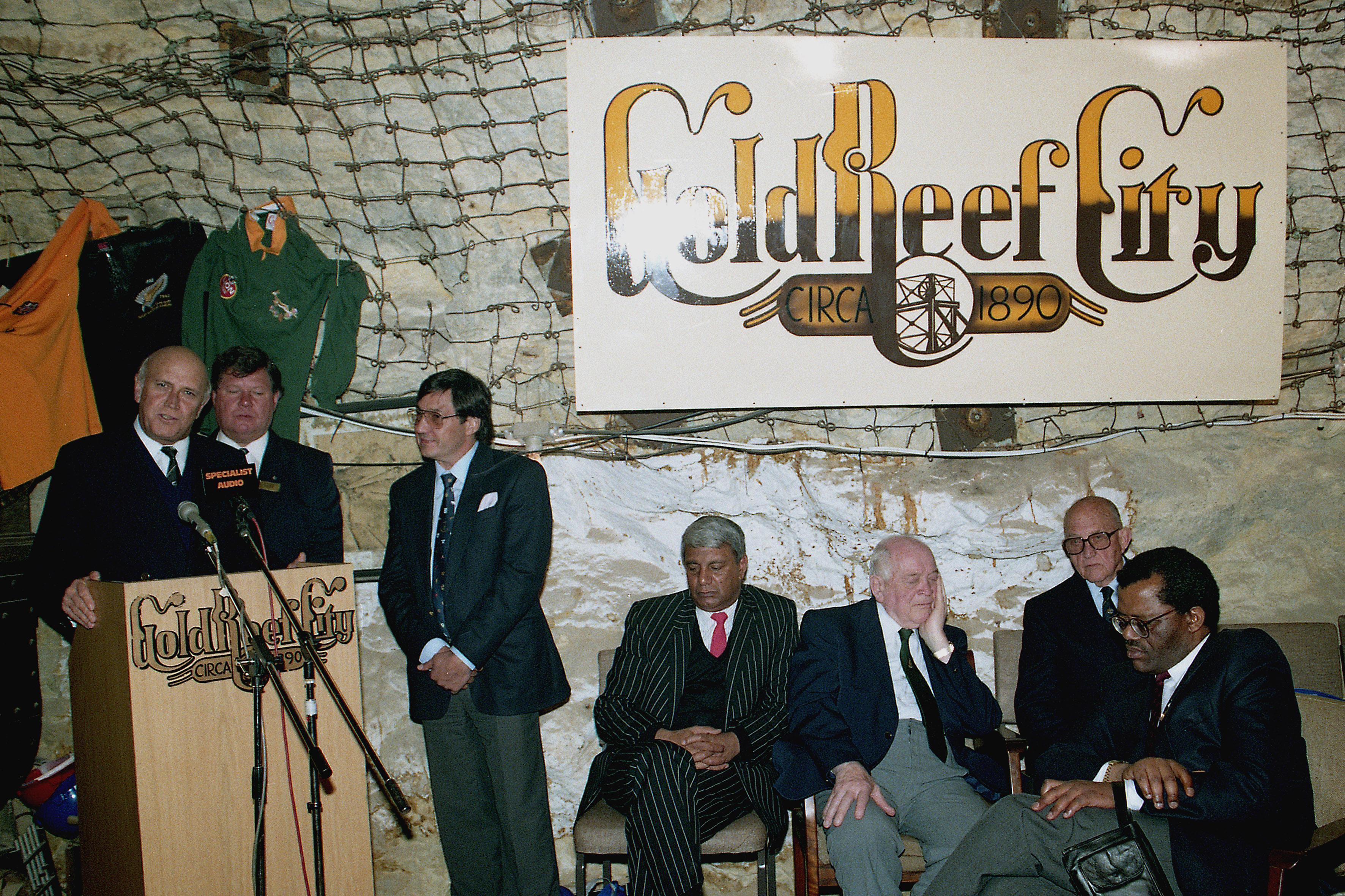Forging unity in rugby: FW de Klerk, Ben Schutte, Ebrahim Patel, Danie Craven and Steve Tshwete pictured...