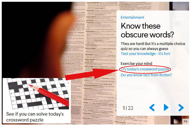 Graphic showing where the crossword has moved to on the AOL Homepage