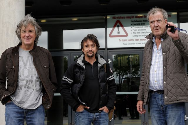 (Left - right) James May, Richard Hammond and Jeremy Clarkson arrive at the Odyssey Arena, Belfast, ahead of the opening Clarkson, Hammond & May Live show.
