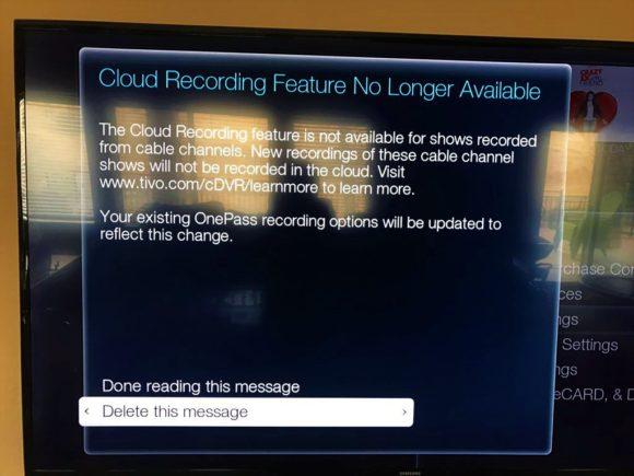 TiVo Bolt cloud DVR message