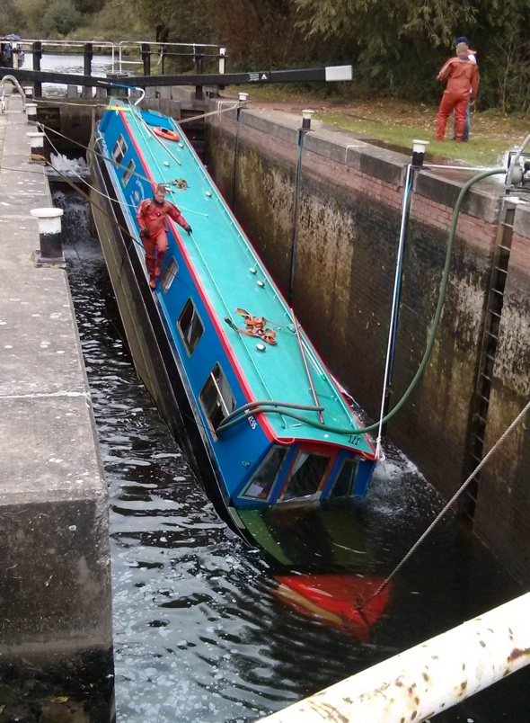 Holidaymakers rescued after canal boat sinks in lock