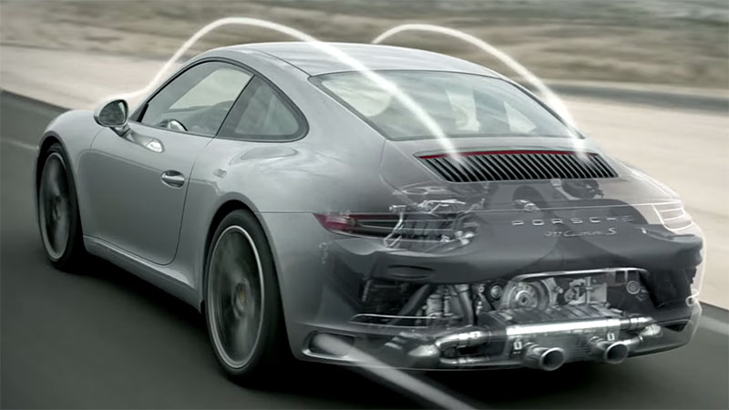 A cutaway rendering of the engine in the 2016 Porsche 911.