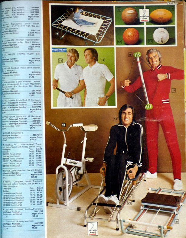 Models pose with exercise equipment in a 1973 catalogue