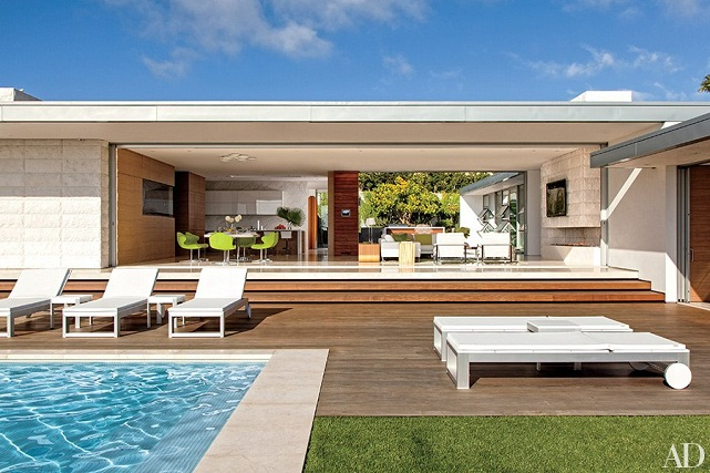 view from pool of modernist home