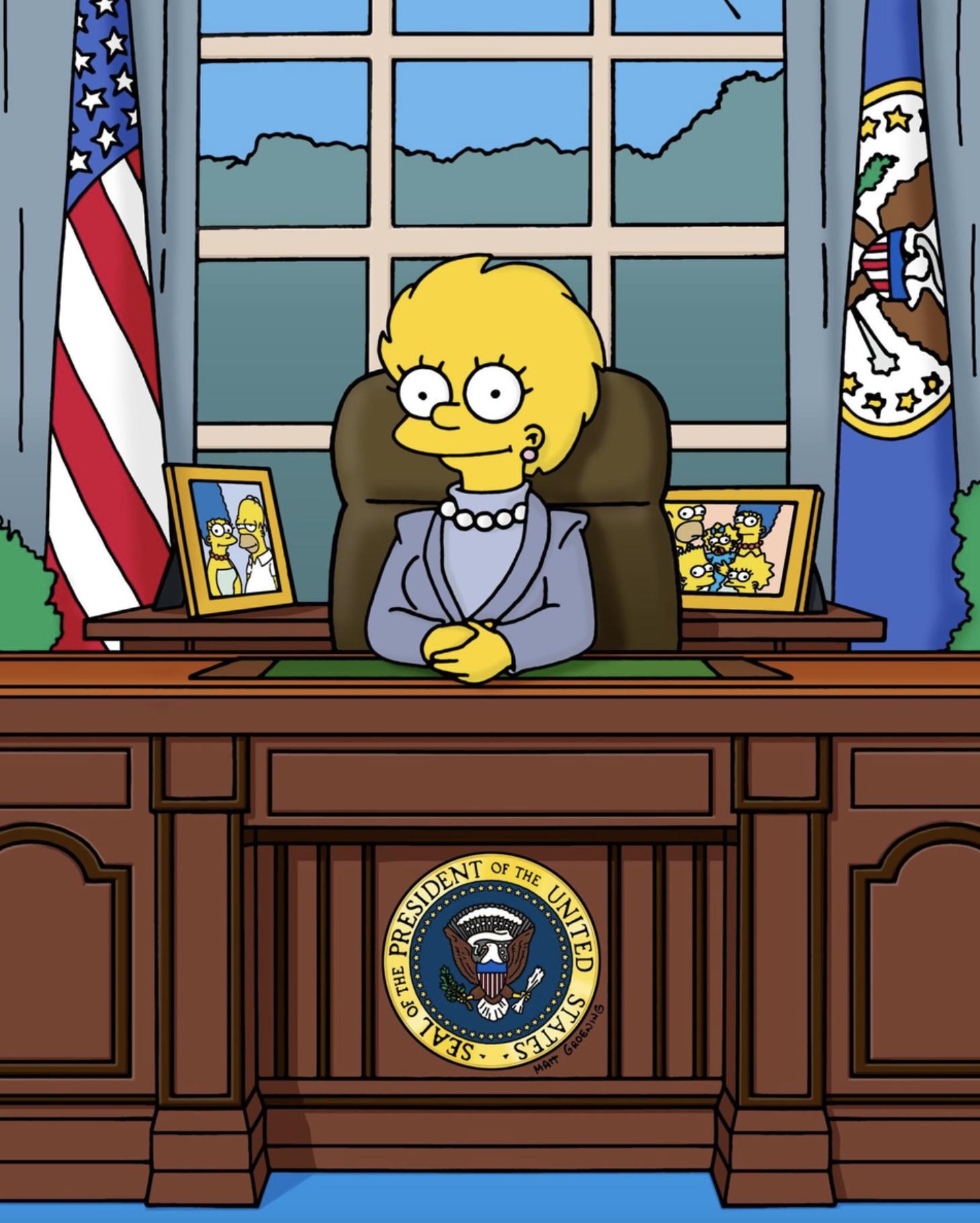 Lisa en papel de presidenta de EUA, la imagen subida a la cuenta de Facebook de 'Los Simpson' el 8 de...
