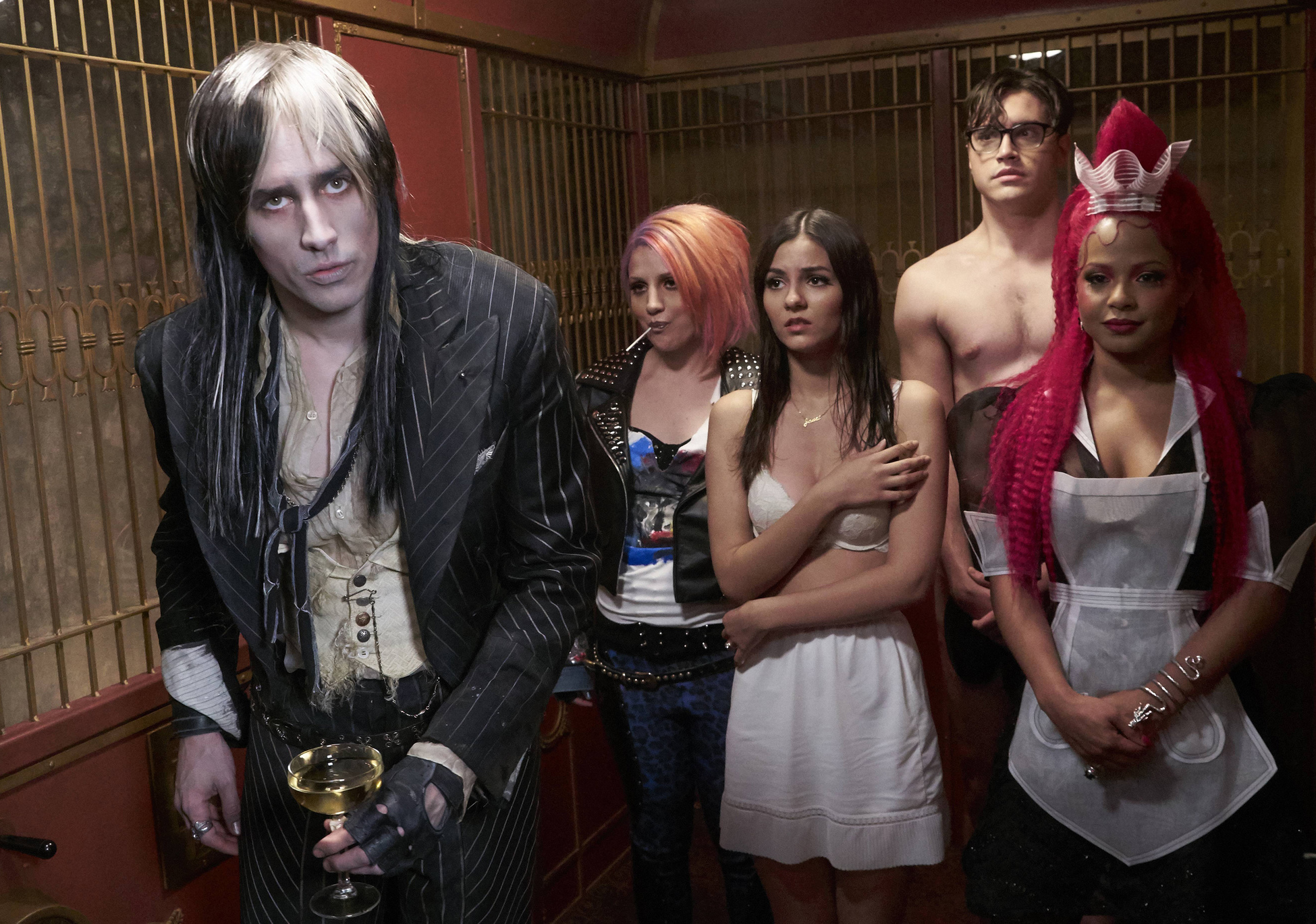 THE ROCKY HORROR PICTURE SHOW:  L-R:  Reeve Carne, Annaleigh Ashford, Victoria Justice, Ryan McCartan and Christina Milian in THE ROCKY HORROR PICTURE SHOW coming this Fall to FOX.  �2016 Fox Broadcasting Co.  Cr:  Steve Wilkie/FOX
