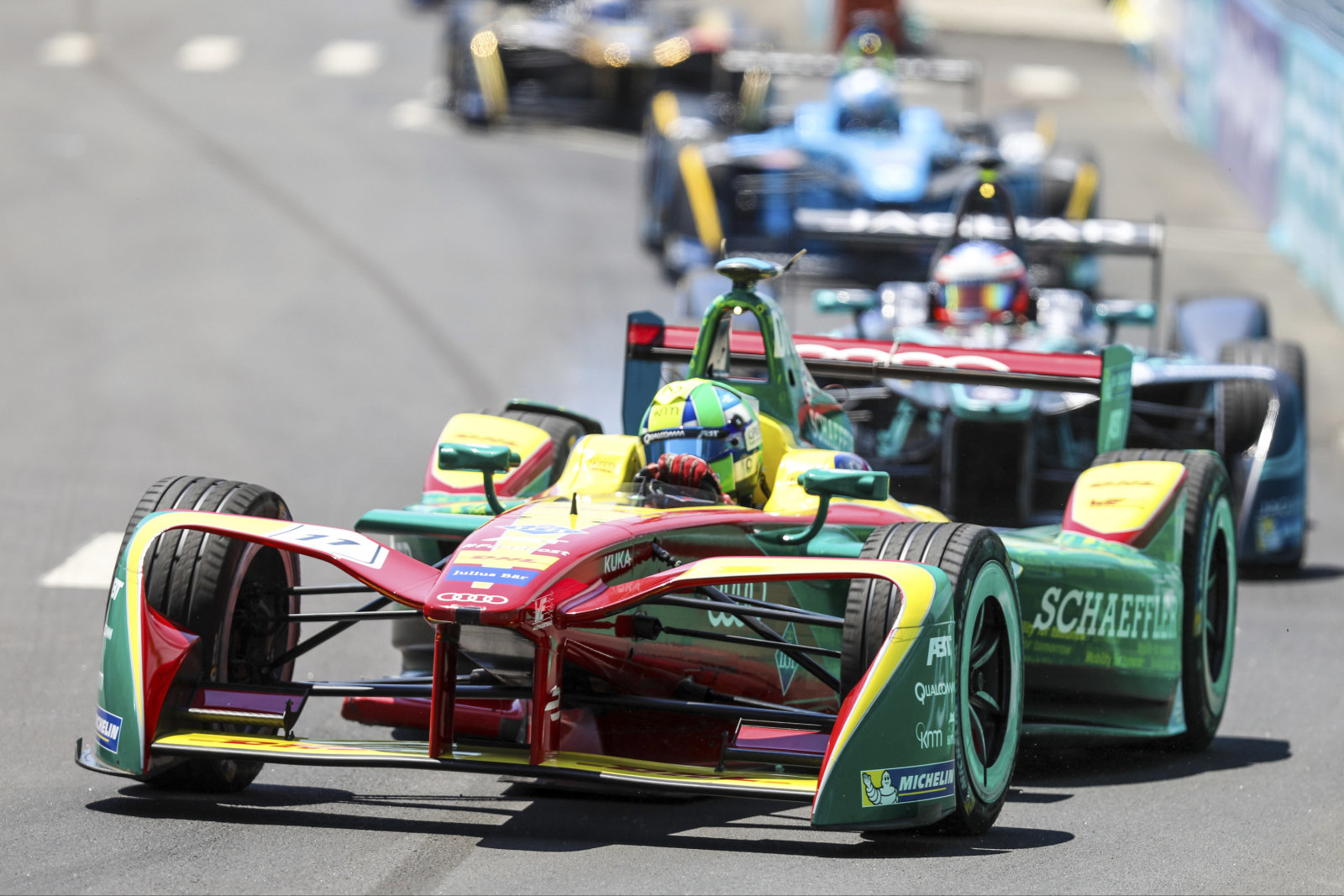 NEW YORK, NY - JULY 16:  Lucas Di Grassi of Brazil and Audi Sport ABT competes during the New York City ePrix, ninth round of the 2016/17 FIA Formula E Series on July 16, 2017 in New York City, New York.(Photo by William Volcov/Brazil Photo Press/LatinContent/Getty Images)