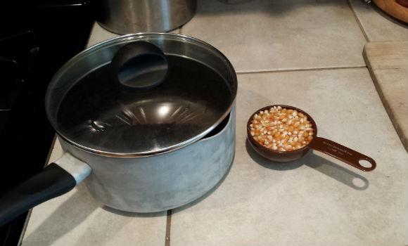 Popcorn kernels and pot