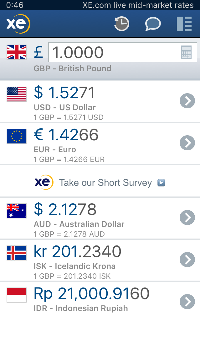 Screen shot of XE currency app