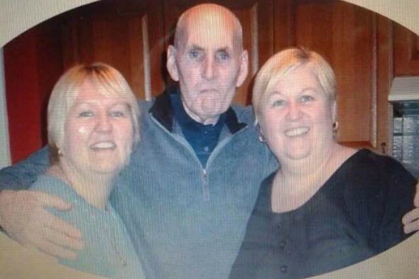 Elaine Briscoe (48) and Sandy Millington (45) with their father