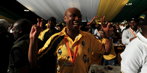 Zizi Kodwa showing his support for Jacob Zuma's re-election at the University of the Freestate in 2012....