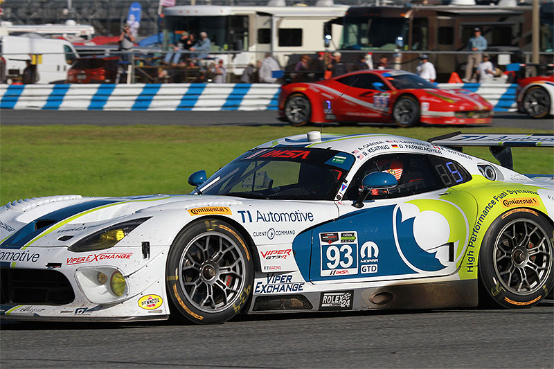 The No. 93 Dodge Viper SRT GT3-R races at the 2015 Rolex 24 at Daytona.