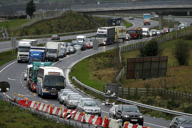Heavy traffic congestion on the M1 into Newry, as hordes of shoppers surged across the border into Northern Ireland today as they used the Republic's national strike to stock up on Christmas shopping.