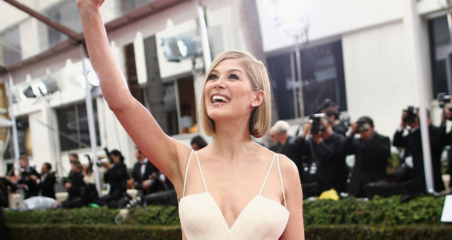 rosamund pike on the red carpet at the 2015 Golden Globe Awards