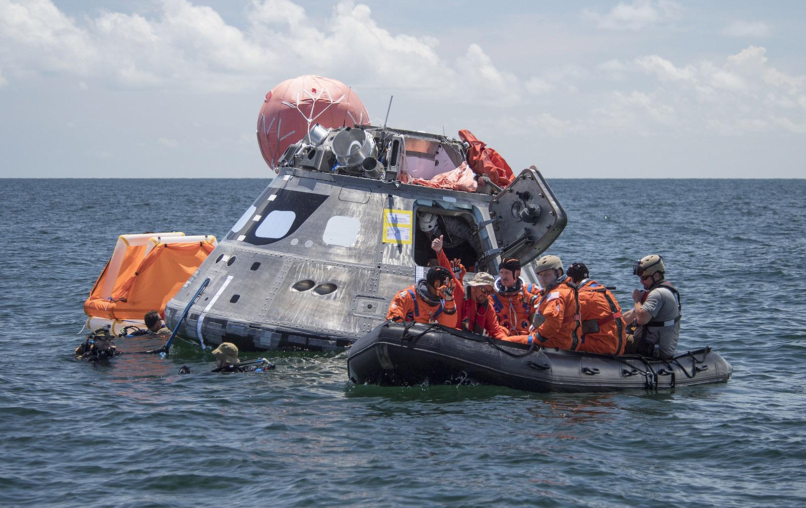 Testing Orion exit procedures near Galveston, Texas