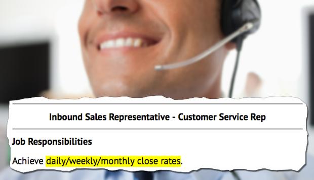 sales customer service job description