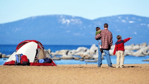 Family camping in Europe