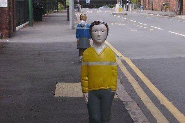 A similar traffic bollard in Nottingham. Photo from @bollard_britain (Twitter)