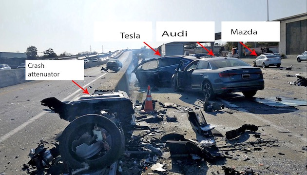 テスラ「モデルX」の死亡事故、自動運転機能が緩衝バリアに向かってクルマを加速させていたことが判明