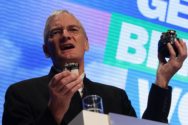 Sir James Dyson delivers his speech during the Conservative Party Conference in Manchester.