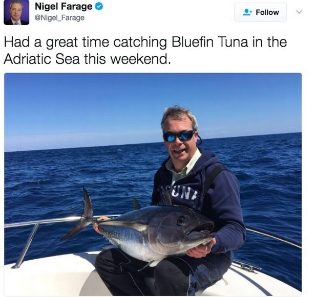 Farage boasts about catching endangered fish