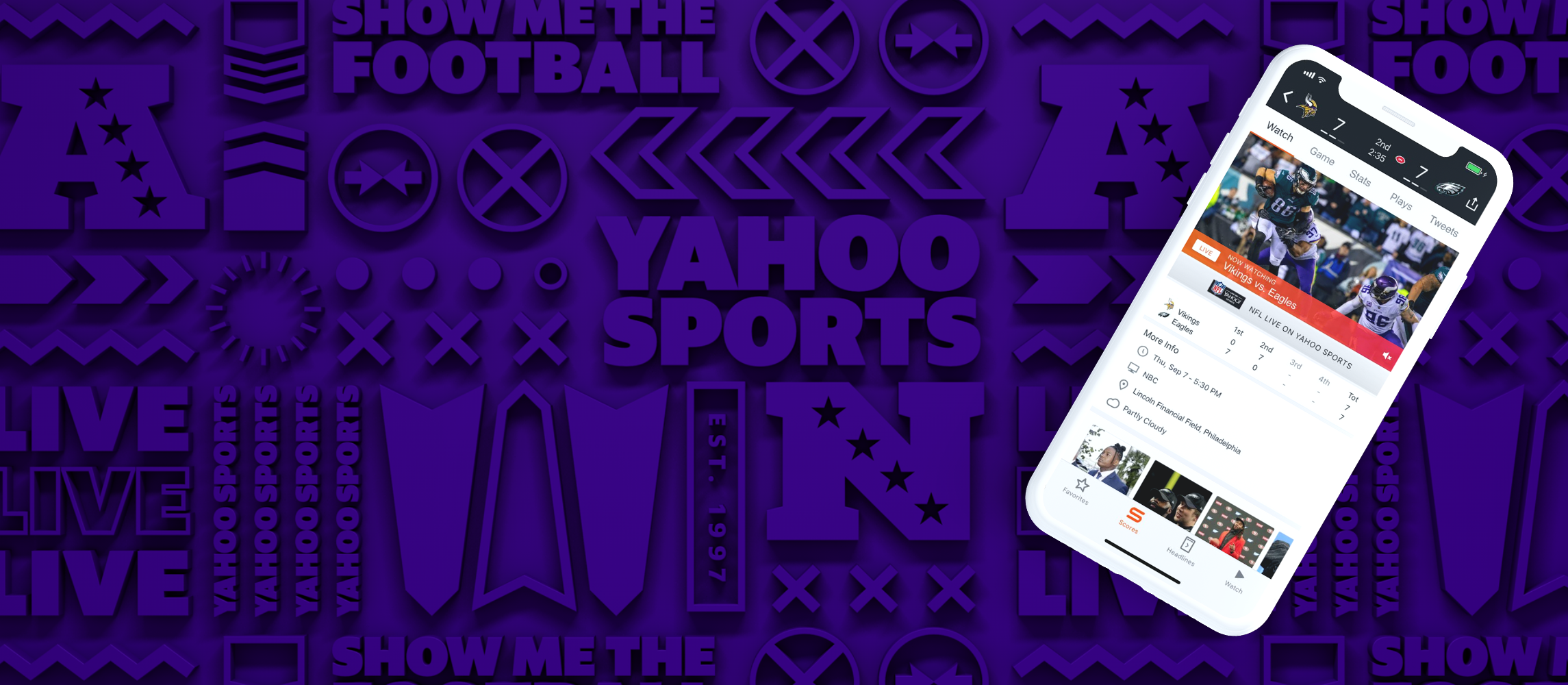Live NFL games on the Yahoo Sports app