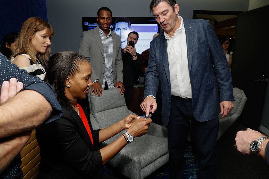 Oath CEO Tim Armstrong and Tamika Catchings in the Oath Accessibility Lab.