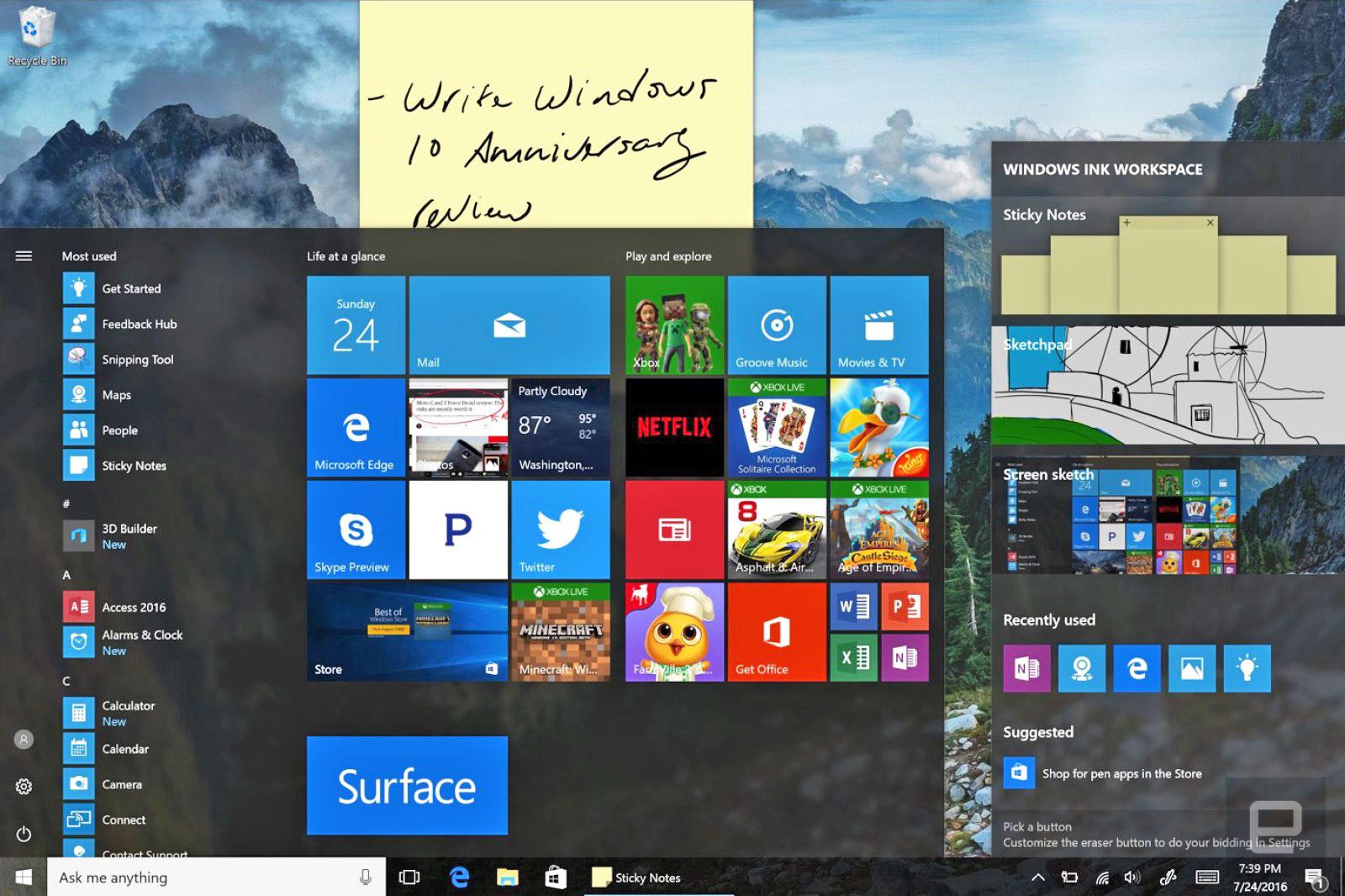 Windows 10 周年更新让它在许多小地方都变得更好了