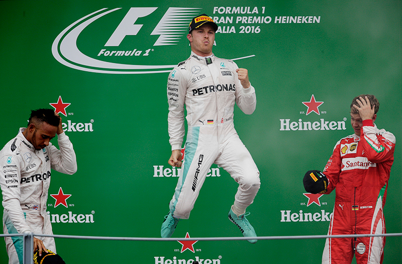 Mercedes' Nico Rosberg celebrates his win on the podium after the race.