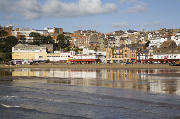 Mandatory Credit: Photo by Pearl Bucknall/Robert Harding/REX (844321a) South Sands in South Bay at low tide with seafront buildings reflected in wet sand on beach, Scarborough, North Yorkshire, England, United Kingdom VARIOUS
