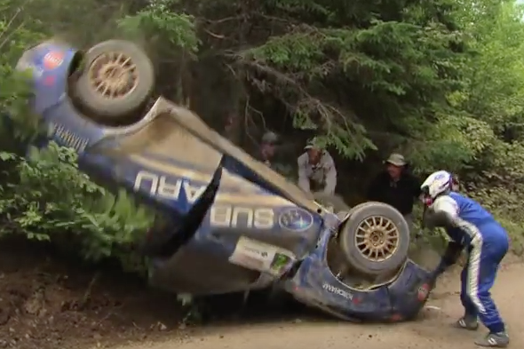 rally driver manages to continue race after flipping car. Black Bedroom Furniture Sets. Home Design Ideas