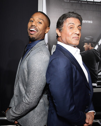 Michael B. Jordan and Producer Sylvester Stallone seen at Los Angeles World Premiere of New Line Cinema's and Metro-Goldwyn-Mayer Pictures' 'Creed' at Regency Village Theater on Thursday, November 19, 2015, in Westwood, CA. (Photo by Eric Charbonneau/Invision for Warner Bros/AP Images)