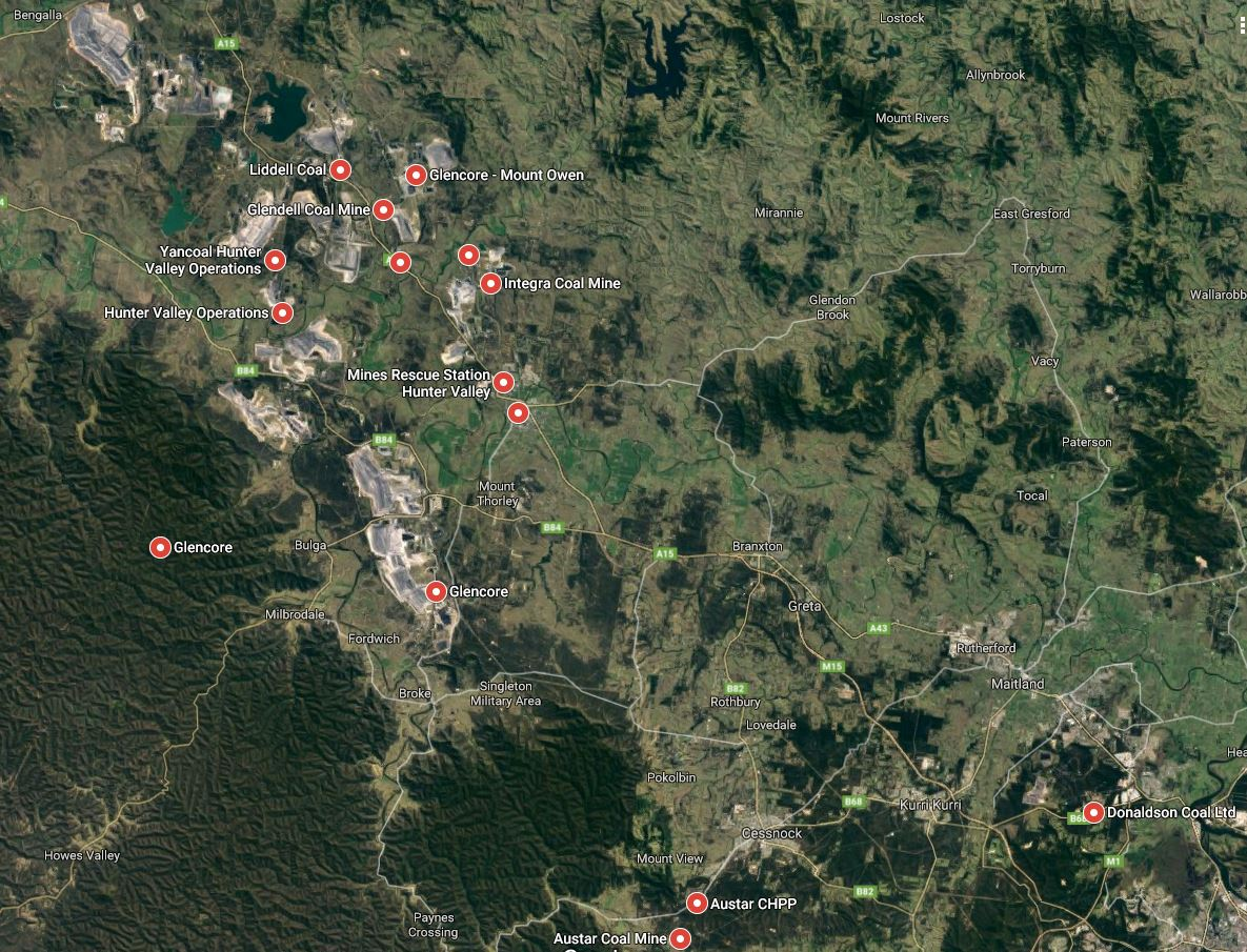 Wines and mines. This Google satellite view image shows some of the main Hunter Valley mines. The city...