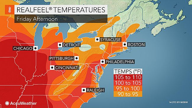 Realfeel Temperatures Will Range From 100 To 110 For Several Hours In Urban Areas During Friday Saay And Sunday In The Mid Atlantic