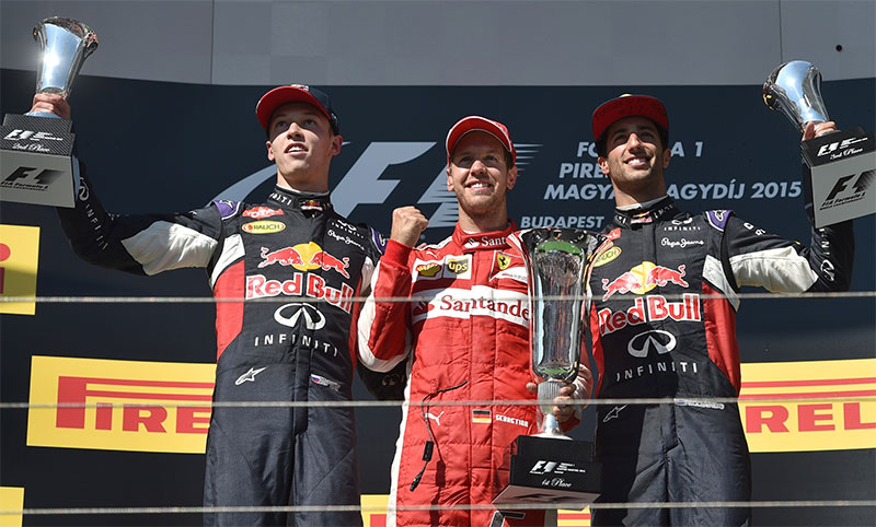 The podium at the 2015 Hungarian Grand Prix.