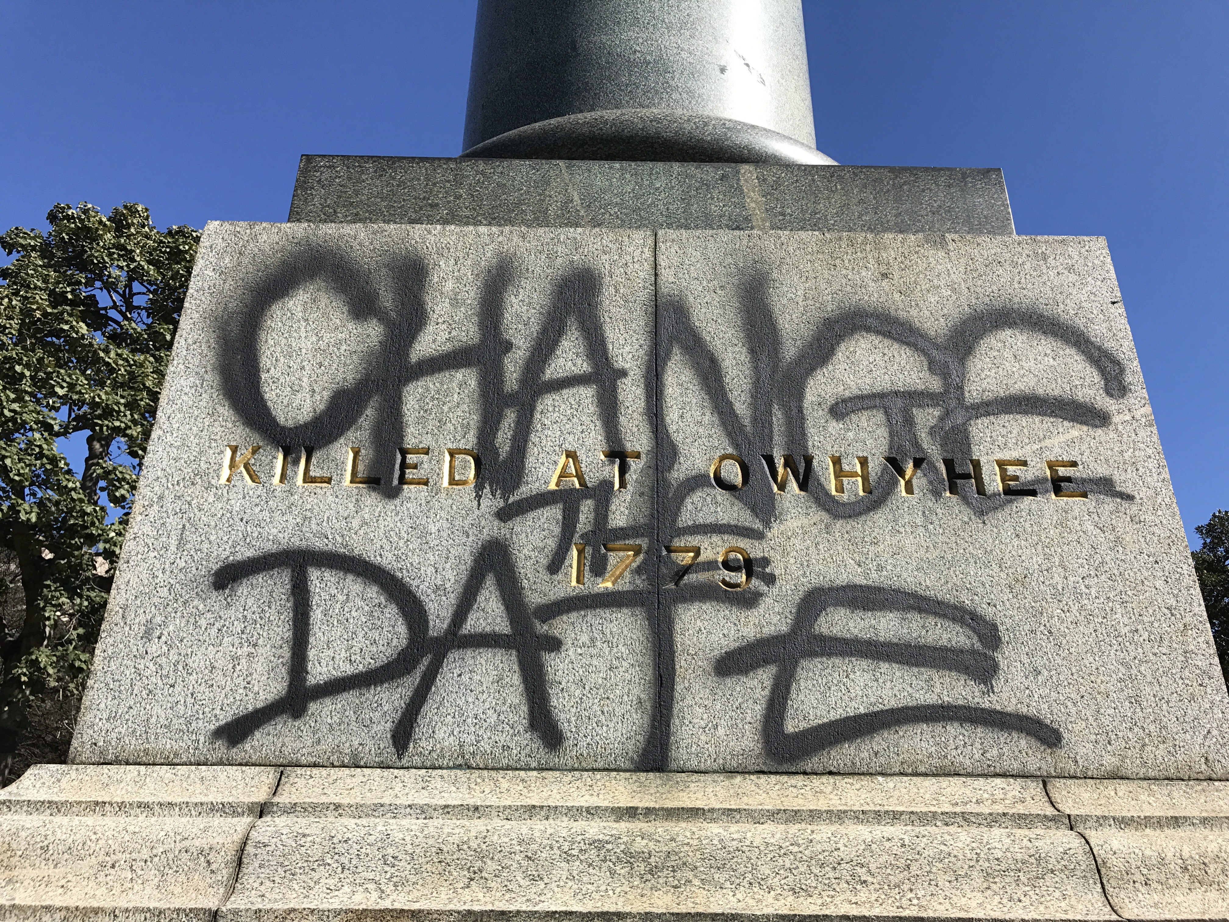 'No Pride In Genocide': Historic Statues Defaced In